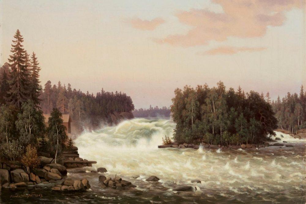 Ferdinand von Wright: Kymijoen Anjalankoski, öljyväri, 1867. Kuva: Kansallisgalleria/Ateneumin taidemuseo.