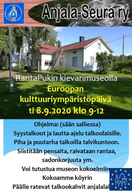 Ranta-Pukin kievarimuseon pihapiirissä vietetään avointen ovien syystalkoita Euroopan kulttuuriympäristöpäivänä 8.9.2020 klo 9-12 1