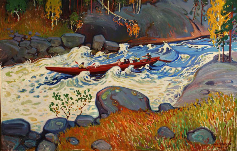 Väinö Hämäläisen maalaus Koskivene Isokäyrässä, 1910