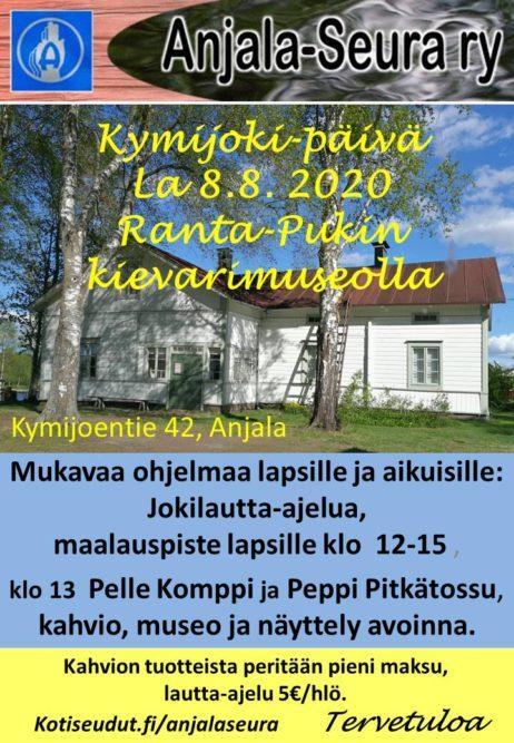 Anjala-Seuran hoitamassa Ranta-Pukin kievarimuseossa vietetään Kymijoki-päivää lauantaina 8.8. klo 12-15 1