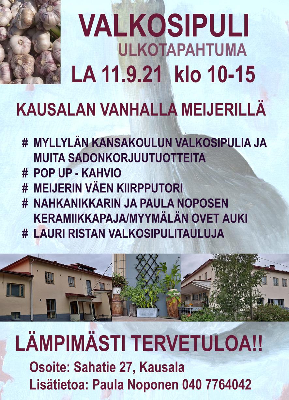 Keraamikon ja teollisen muotoilijan kasvattamien valkosipulien myyntitapahtuma kokoaa sipulien ystäviä Kausalan ent. meijerille su 11.9.2021 klo 10-15 2