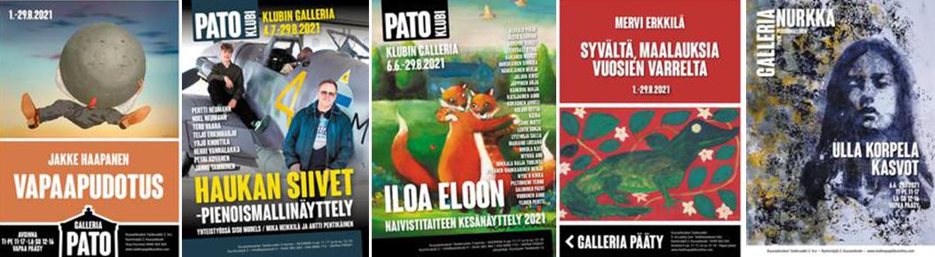 Kuusankosken Pato Klubin, Galleria Padon ja Taideruukin 2. kerroksen muut tämän kesän näyttelyt ovat avoinna sunnuntaihin 29.8.2021 asti 1