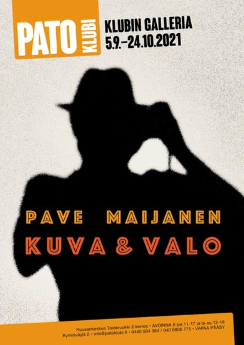 Kuusankosken Taideruukin 2. kerroksen galleriat täyttyvät näyttelyistä kolmen viikon jaksoissa. Muusikko Pave Maijasen (1950-2021) ottamien valokuvien näyttely Pato Klubilla 24.10.2021 saakka. 1